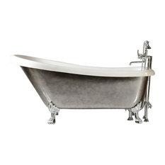"'SEBASTIANO' 59"" CoreAcryl Single Slipper Clawfoot Tub, Aged Chrome Exterior"