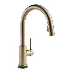 Delta Trinsic Pull-Down Kitchen Faucet with Touch2O Technology, Champagne Bronze