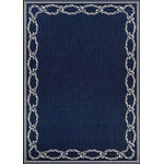 "Couristan - Recife Rope Knot Outdoor Area Rugs, Indigo-Ivory, 3'9""x5'5"" - Recife Rope Knot Outdoor Area Rugs make outdoor living easy.  An outdoor seating area will instantly become cozier and more welcoming when adding Recife Rope Knot Outdoor Area Rugs. These indoor and outdoor anywhere rugs are designed to handle kids, pets and other forces of nature with an easy care style.  They are mold and mildew resistant. You'll love how easy they are to clean with mild soap and water."