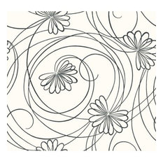 York Wallcoverings BL0340 Black and White Book Script Floral Wallpaper