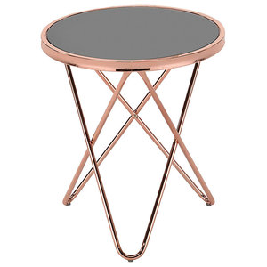 Modern Round Side Table with Tempered Glass Top With Steel Legs, Copper/Black
