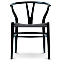Dining Chair Wood Woven, Open Y Back Armchair, Black - ONE TIME LISTING