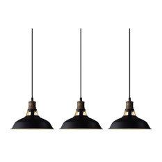 Black Barn Industrial Pendant Lighting Loft Light Fixture, Set of 3