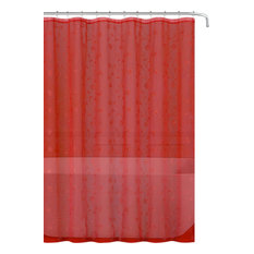 Sheer Shower Curtain, Embroidered Flowers, Metallic, Red, Silver