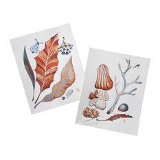 2-Piece Original Autumn Leaves and Mushroom Watercolor Paintings by Olena Baca