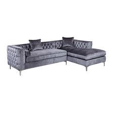 Da Vinci Velvet Button Tufted Right Facing Sectional Sofa  sc 1 st  Houzz : tufted velvet sectional - Sectionals, Sofas & Couches