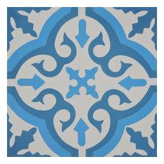 "8""x8"" Argana Handmade Cement Tile, Dark/Light Blue, Set of 12"