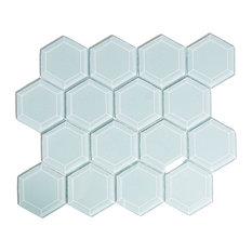 Vapor Hexagon Beveled Glass Tile, Sample
