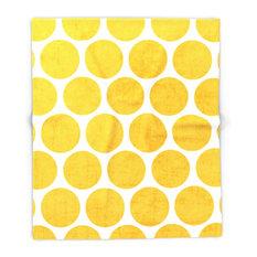 """Yellow Polka Dots Blanket, 88""""x104"""""""