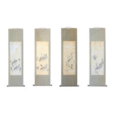 Set of 4 Chinese Calligraphy Ink Fishes Drawing Scroll Paintings Wall Art Hws762