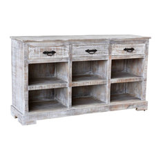 Crestview Adler White Wash 3 Drawer Sidboard CVFNR787