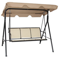 Costway 3 Person Outdoor Patio Swing Canopy Awning Yard Furniture Hammock Steel