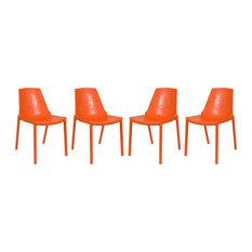 LeisureMod Modern Clover Dining Chairs, Set of 4, Orange