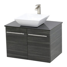 "24"" Wall Mount Vanity, Black Stone Countertop, Dark Grey"