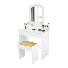 Multifunctional Vanity Set, Mirror With LED Lights and Cushioned Stools