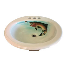 Limited Edition Hand Painted Rising Rainbow Trout Drop-in Sink, Sink Only