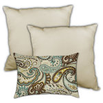 Joita Home - Mohave Desert Indoor/Outdoor, Zippered Pillow Cover with Insert, Set of 3 Pillow - Classy and timeless, this collection of outdoor paisley throw pillows in turquoise, chocolate, aqua, and yellow bring classic boldness to your outdoor area. The sand colored lumbar pillow adds a softness to this set that brings style and contentment together in a delightfully unexpected way!.  The twisted teardrop shape brings a Persian flair that is exotic, yet fanciful. Comfortable and indulging, just like your favorite latte! Distinctive design and quality workmanship. This outdoor collection is UV and mildew resistant.  Zipper Covers with Inserts. Unique designer outdoor item perfect for your poolside, lanai, patio, deck, balcony, terace, veranda, mezzanine, porch.