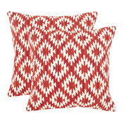 "Navajo Diamond Pillow (Set of 2) - Red, Down Feather, 20""x20"""