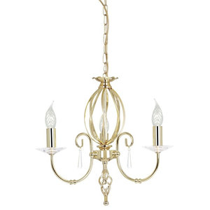 Traditional Polished Brass 3-Arm Chandelier With Cut Glass