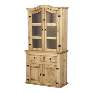 Traditional Display Cabinet, Solid Pine Wood With 2-Glass Door and 2-Drawer