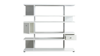 Line Bookcase With Drawer and Cupboard, White Gloss
