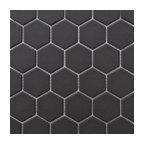 "12""x12"" Retro Unglazed Hexagon Mosaic, Dark Gray, 12""x12"""