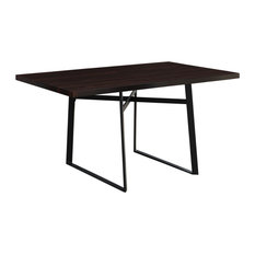 30-inch Cappuccino Particle Board Hollow Core And Black Metal Dining Table