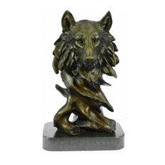 Signed Milo Wild Wolf Bronze Marble Bust Sculpture Statue Fifurine Art Deco
