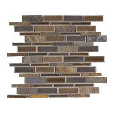 MTO0236 Modern Slate Brown Glazed Ceramic Stone Mosaic Tile