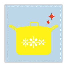 """6""""x6"""" Kitschy Kitchen Glossy Decorative Tile, What's Cookin Light Blue-Yellow"""