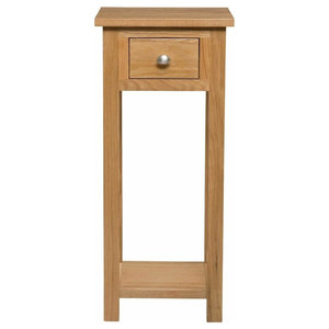 Tall Slim Bedside Table, Natural Solid Wood With 1-Drawer and Open Shelf