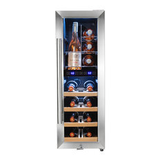 AKDY 16 Bottle Dual Zone Wire Wood Shelves Freestanding Compressor Wine Cooler