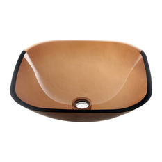 Dawn Tempered Glass Vessel Sink-Square Shape, Brown Glass