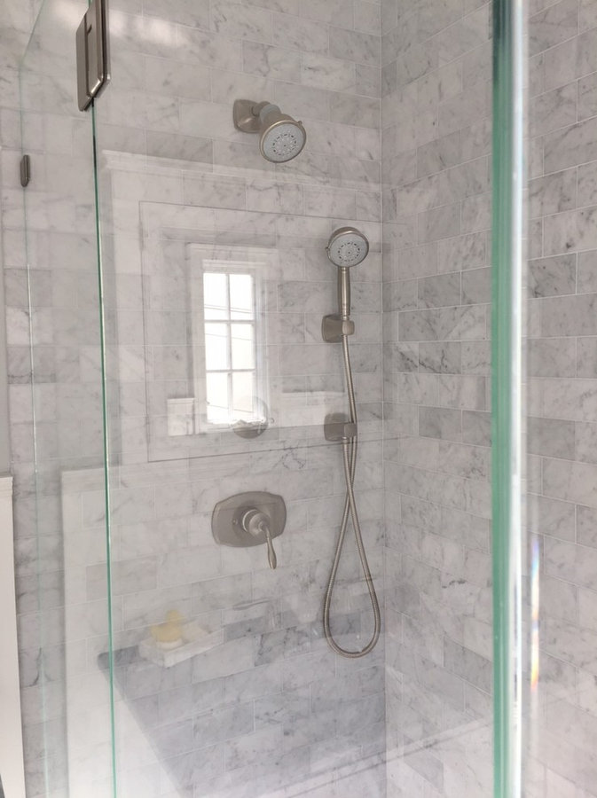 Luxe Marble Master Bath in Larchmont