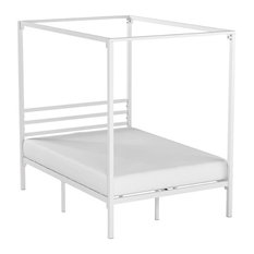 Modern Canopy Bed, Strong Metal Slats and Under Bed Storage Space, White-Full