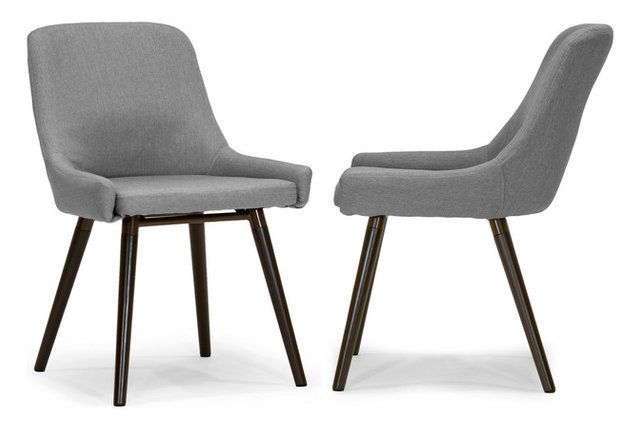 Modern Grey Fabric Dining Chairs: Ade Modern Gray Fabric Dining Chairs With Beech Legs, Set