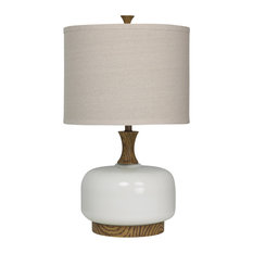 Chevelle Ceramic Table Lamp, Natural Wood + White Finish, Beige Fabric Shade