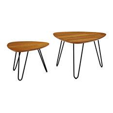 Hairpin Leg Wood Nesting Coffee Table Set, Walnut
