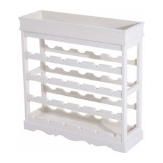 Stackable 4-Tier Wine Rack, Solid Wood, 24-Bottle Capacity Contemporary Style