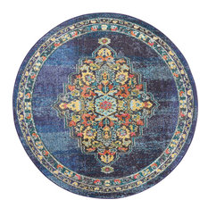 "Nourison Passionate Area Rug, Navy, 5'3"" Round"