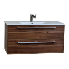 "ConceptBaths Caen 40"" Wall-Mount Modern Bathroom Vanity Walnut"