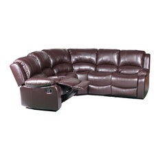 Divano Roma Furniture - Classic Oversized and Overstuffed Corner Recliner Sectional Sofa Brown - Sectional  sc 1 st  Houzz : pleather sectional - Sectionals, Sofas & Couches