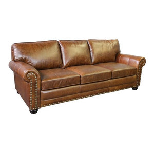 Warner Leather 90 Quot Chesterfield Sofa Traditional Sofas