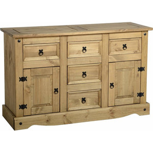 Traditional Sideboard in Solid Pine Wood with 2 Door and 5 Storage Drawers