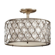 Feiss Lucia 2-Light Burnished Silver Beige Fabric Shade Semi-Flush Mount
