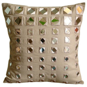 Wood Beads Beige Cushion Covers, 55x55 Cotton Canvas Cushion Covers, Glass Maze