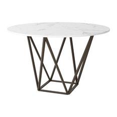 Tintern Dining Table, Stone & Antique Brass