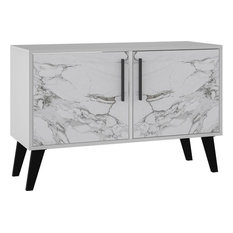 Amsterdam Double Side Table, White Marble