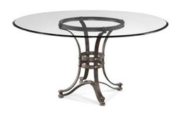 """Bassett Mirror Tempe 60"""" Round Glass Dining Table With Metal Base"""