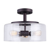 3 Bulb Semi-Flush Mount With Seeded Glass, Oil Rubbed Bronze